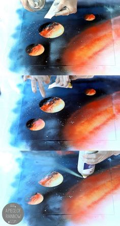 Diy spray paint art. I want to paint a wall like this in the kids rooms :)