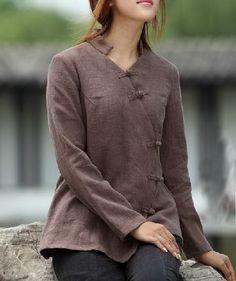 Plait Buttons Irregular Hem Linen Shirt