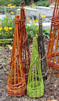 Small obelisks, use them for table top displays or small Christmas trees.