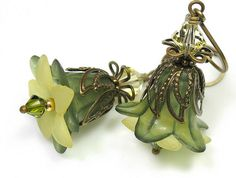 Olivine and Jonquil Vintage Style Lucite Flower Earrings - art nouveau style flower earrings featuring lucite flowers, crystal bicones and antiqued brass swirl bead caps.