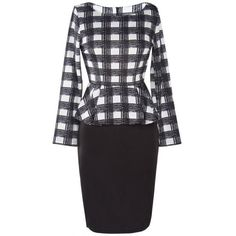 Knee Length Plaid Peplum Dress ($17) ❤ liked on Polyvore featuring dresses, plaid dress, knee length peplum dress, knee high dresses, tartan plaid dress and knee length dresses
