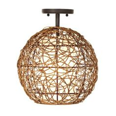 Organic Contemporary Rattan Ceiling Fixture