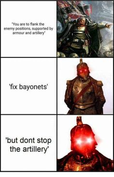 Some memes. Warhammer 40k Memes, Warhammer Art, Warhammer Fantasy, Warhammer 40000, Dark Humour Memes, Dankest Memes, Death Korps Of Krieg, Warhammer Imperial Guard, Vinland Saga