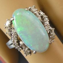 Stunning Fiery Large OPAL Diamond 14k Ring - .48tcw/5.5ct opal