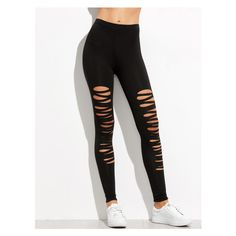 Black Ripped Skinny Leggings found on Polyvore featuring polyvore, women's fashion, clothing, pants, leggings, black, bottoms, torn leggings, skinny leg pants and ripped leggings