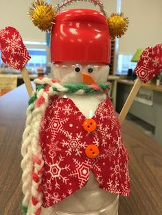 Creamer Bottle Snowmen --for 5th Grade christmas craft--Teacher does the Hot gluing for kids We began them as a very simple craft ...