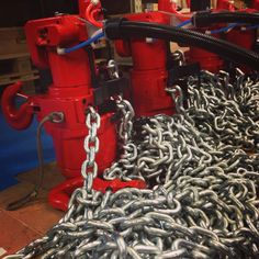 Some of our 3 Tonne #RedRooster air chain hoists just before delivery.   More info on: http://www.rami-yokota.com/en/products?g=TCR-Series+Air+Chain+Hoist