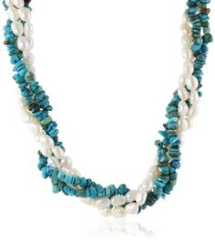 "Large Turquoise Chips and White Baroque Freshwater Pearls Twister Necklace Set with Gold Tone Clasp, 36"" Amazon Curated Collection http://www.amazon.com/dp/B00EB8OVD4/ref=cm_sw_r_pi_dp_-B70ub1D9GSW9"