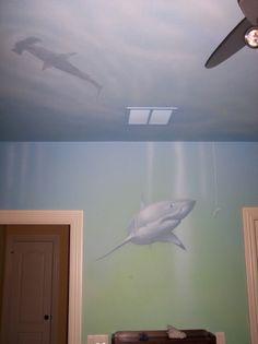 shark room mural www.artistjasonjones.com
