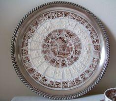 Brown Transferware Mosaic Tray by lavenderhillstudio