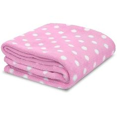 Little Starter Pink & White Polka Dot Soft Plush Baby Bla…