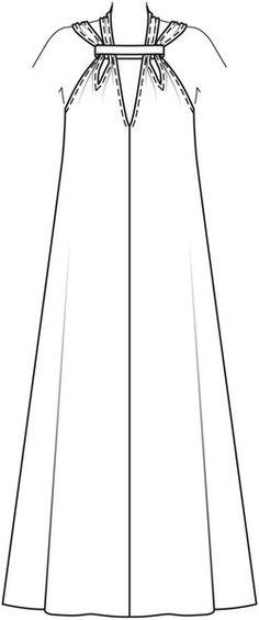 Burda 2013/06 [109] - cette robe a de nombreux atouts de charme : d'abord son étoffe, un jersey enduit métallisé, puis des bretelles doubles et nouées qui font de belles épaules. La coupe est éminemment confortable. Afin que le jersey moulant ne marque pas les formes de la silhouette, porter dessous un body gainant sculptant. T36-44