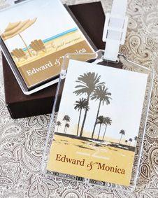 Elite Design Personalized Acrylic Luggage Tags. http://www.bluerainbowdesign.com/WeddingFavorProduct.aspx?ProductID=PR090510179836JeKeloXimenaBRD96873=WEDDI=GROUP=WLUGG=Pinterest