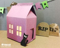 3D Haunted Halloween Houses Tutorial and Free Printable Template