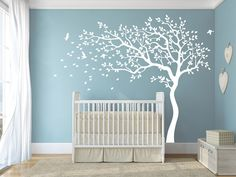 Weiß+Baby+Kinderzimmer+Baum+Wandtattoos+von+Amazingdecals+auf+DaWanda.com