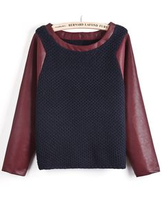 Navy Contrast Wine Red PU Leather Sleeve Sweater EUR€42.28