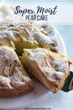 This Super Moist Pear Cake is so moist and delicious. It is the perfect cake to have with tea or coffee or enjoy without any pairing at any time. Köstliche Desserts, Easy Cake Recipes, Delicious Cake Recipes, Yummy Cakes, Pear Recipes Easy, Desserts With Pears, Plated Desserts, Recipes With Pears, Recipes