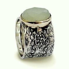 Wide ring sterling silver ring jade ring gemstone by artisanlook