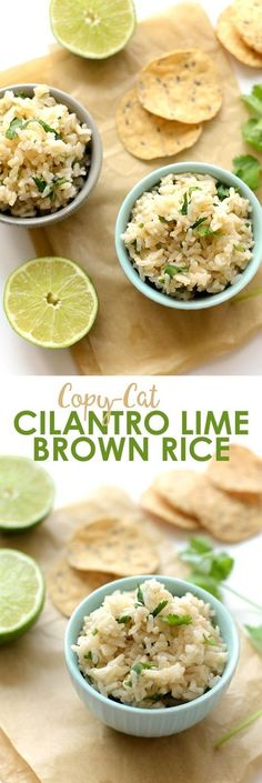 Ingredients   2 cups brown rice, uncooked   4 cups water    1 lime (~1/4 cup lime juice)   1/2 cup fresh cilantro, chopped unpacked   1...