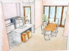 Entwurfszeichnung für die Raumverbindung von Küche mit Esszimmer im Altbremer Haus