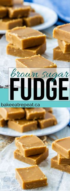 This easy to make brown sugar fudge has just a few simple ingredients and makes the perfect no bake treat for the holidays! This easy to make brown sugar fudge has just a few simple ingredients and makes the perfect no bake treat for the holidays! Unique Desserts, Köstliche Desserts, Delicious Desserts, Dessert Recipes, Scone Recipes, Brown Sugar Fudge, Make Brown Sugar, Christmas Fudge, Christmas Baking