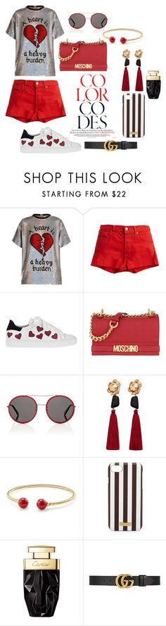 """Heartily fashion"" by lahti ❤ liked on Polyvore featuring Ashish, RE/DONE, Steffen Schraut, Moschino, Gucci, MANGO, David Yurman and Henri Bendel"