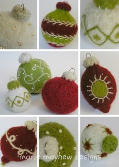 You have to see Woolly Holiday Ornaments on Craftsy! - Looking for knitting project inspiration? Check out Woolly Holiday Ornaments by member woollysomething. Teacher Ornaments, Felt Christmas Ornaments, Handmade Christmas Decorations, Wet Felting, Needle Felting, Easy Felt Crafts, Ornament Pattern, Needle Felted Ornaments, Crochet Ornaments