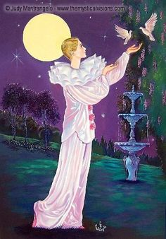 Pierrot With Fountain And Doves Pierrot, Clowns, Night Illustration, Beauty Night, Music Of The Night, Creation Photo, Fantasy Life, Under The Moon, Joker