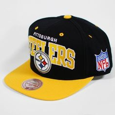 Mitchell  amp  Ness Pittsburgh Steelers Flat Brim Snap Back Hat Adjustable  by Mitchell  amp  de320788498