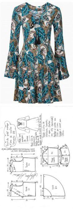 Vestido malha godê manga flare | DIY - molde, corte e costura - Marlene Mukai