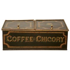 "circa 1900 Hand-painted tin ""Coffee & Chicory"" store fixture made by J. Waters in Birmingham, England."