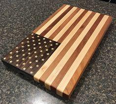 American Flag edge grain cutting board
