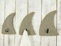 Shark Decor Decorative Wall Hooks Wooden Shark Bathroom Towel Hooks Beach House Wall Decor Surf Decor Kids Boys Room Nautical Bathroom Decor - Life's a Beach - Bathroom Towel Decoration Surf, Surf Decor, Shark Bathroom, Bathroom Kids, Bathroom Wall, Mosaic Bathroom, Nautical Bathroom Decor, Bath Decor, Nautical Interior