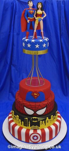 Superman Wonder Woman Wedding Cake -  For all your cake decorating supplies, please visit craftcompany.co.uk