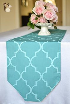 Turquoise moroccan style quatrefoil table runner - Venue and reception decor (*Amazon Partner-Link)
