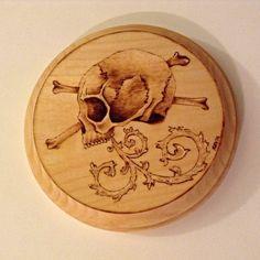 Skull And Crossbones Wood Burning by TheGirlsGotSkulls on Etsy