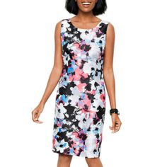 Liz ClaiborneR Cap Sleeve Floral Print Shantung Dress Found At JCPenney