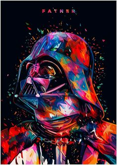 Star Wars Tribute: F A T H E R – Darth Vader portrait in Illustration Star Wars Pop Art, Film Star Wars, Star Trek, Tableau Star Wars, Anakin Vader, Darth Maul, Darth Vader Star Wars, Darth Vader Father, Darth Vader Poster