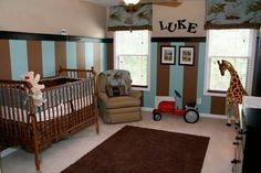 Blue  Brown nursery - Love the vertical stripes on the wall!