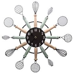 Spice up your kitchen decor with this playful kitchen utensils wall clock!