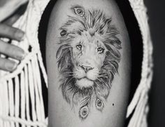 A healed shot of @livsperspektiv 's lion ✨ Its been an absolute pleasure to work with you!  Beautifully brought to life by Mankan, at Rough Stuff, Sweden . . . #lion#liontattoo#lionart#animalcreatives#blacktattoo#blackandwhite#greyscaletattoo#customdesign#ukartist#london#tattoo#goodvibes#wildcat#happy#peacock#peacockfeather#peacockfeathertattoo#feather#feathertattoo#iblackwork