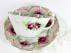 Antique Cup and Saucer, Bone China Teacup, Hand Painted Tea Cup and Sa – The Vintage Teacup