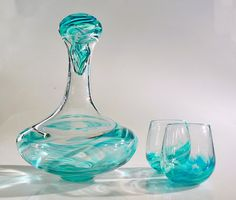 Hand Blown Glass Wine Decanter Set with stopper in a rainbow of colors on Etsy, $275.00