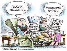 Turkey shortage, Dave Granlund,Politicalcartoons.com,avian flu, bird flu, thanksgiving, turkey, dinner, prices, high price, smaller, families, shopping, market, groceries, expensive, fewer, less, candidates, politics, 2016, choices, turkeys, bad, awful