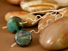 Sterling Silver &  Chrysocolla earrings - ©7th Sister Studios Jewelry Art