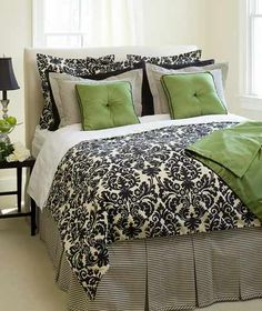 Black, cream & green bedroom idea for m guest bedroom Bedroom Green, Bedroom Colors, Dream Bedroom, Home Bedroom, Bedroom Decor, Bedroom Ideas, Damask Bedroom, Bedroom Black, Bedroom Inspiration