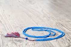 Mediterranean Blue Long Tassel Necklace Red by PiscesAndFishes, Beaded Tassel Necklace, Blue Necklace, Dainty Necklace, Men Necklace, Greek Jewelry, Friendship Necklaces, Necklace Lengths, Red And Blue, Tassels