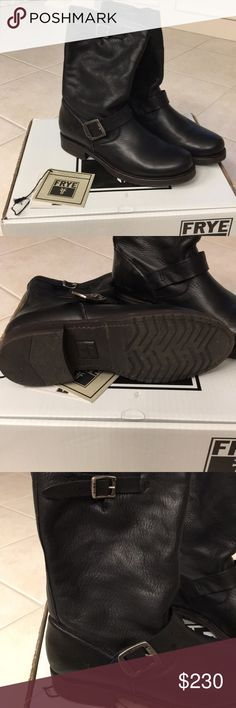 Frye Veronica boot. Soft leather upper. Buckle hardware detail. Very nice boot. In excellent condition. Worn twice. Frye Shoes Combat & Moto Boots