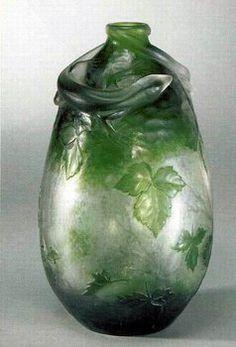 Daum Frères, Daum Frères, Nancy, Applied, Wheel carved and Etched Glass Vase.