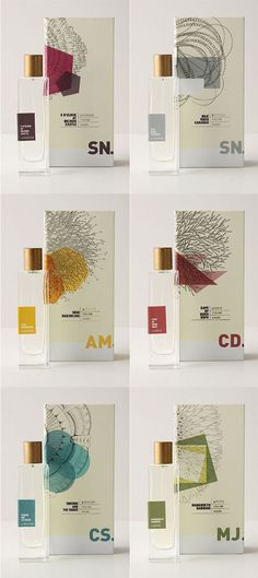 Novel Collection Eau De Parfum is a collection of six scents created especially for Anthropologie by five perfumers from the fragrance house Givaudan. Graphisches Design, Label Design, Print Design, Logo Design, Package Design, Perfume Packaging, Print Packaging, Smart Packaging, Beauty Packaging
